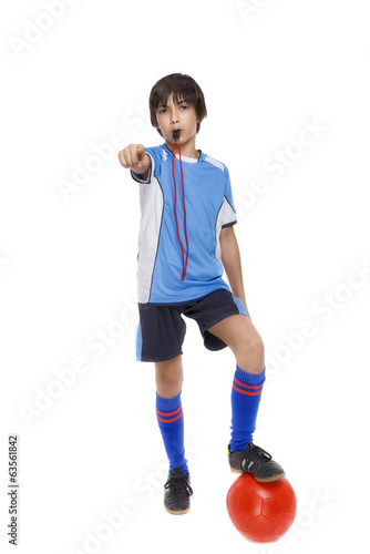 child soccer judge cu fluier isolated on white background