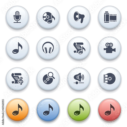 Internet icons on color buttons. Set 13.