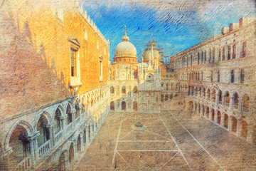 courtyard of Doge's palace. Venice. Italy.