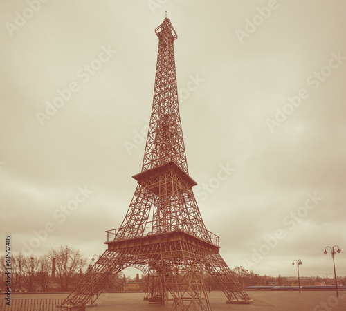 copy of Eiffel tower. Photo in retro style.