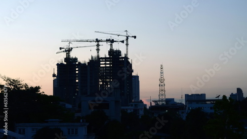 Building Under Construction at twilight time, Timelapse