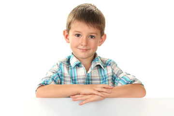 portrait of happy little boy isolated on white