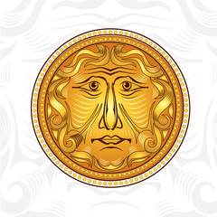 vintage golden  face or god sun