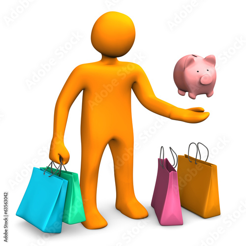 Manikin Shopping Bags Piggy Bank
