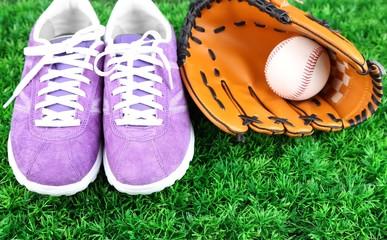 Beautiful gumshoes and baseball ball, glove