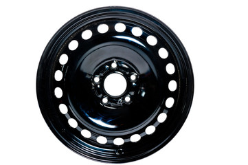 steel wheel drive car in black on a white background