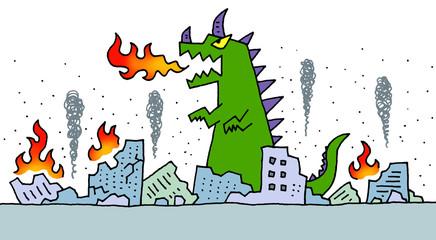 街を破壊する怪獣
