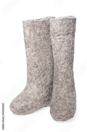 Felt boots gray on white background