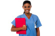 Female nurse holding clipboard, at duty