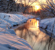 canvas print picture - Forest River. winter sunset