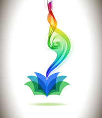 Abstract colorful background book icon and wave