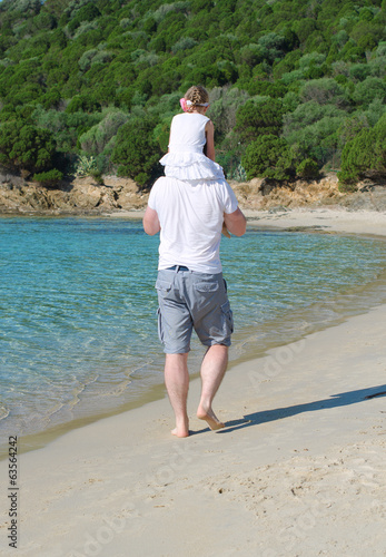 Man with daughter on shoulders walking on the beach.