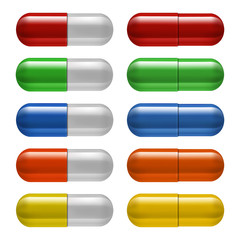 Medical pills set, different colors