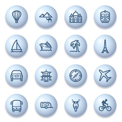 Travel icons on blue buttons.