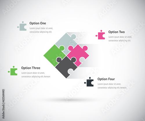 Puzzle piece group infographics business concept vector