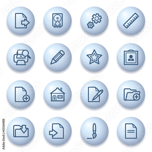 Document icons on blue buttons.