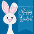 """Wishing you a Happy Easter"" retro style bunny card"