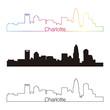 Charlotte skyline linear style with rainbow
