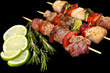 Pork kebab on black background