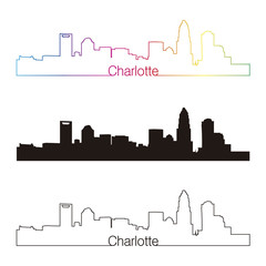 Charlotte skyline linear style with rainbow