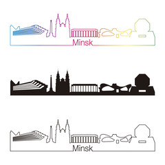 Minsk skyline linear style with rainbow
