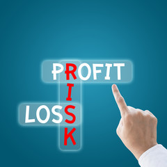Business hand finger to profit risk loss