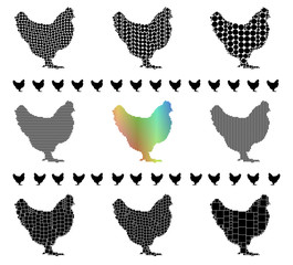 Chicken silhouette mosaic set