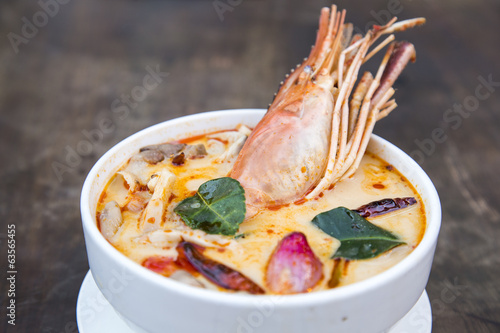 Thai spicy soup. Tom yum koong Thai spicy food.