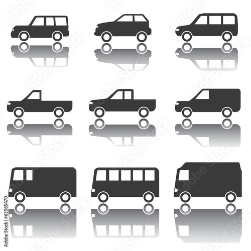 Set of Car Icons, Transportation, Traffic, Vehicles