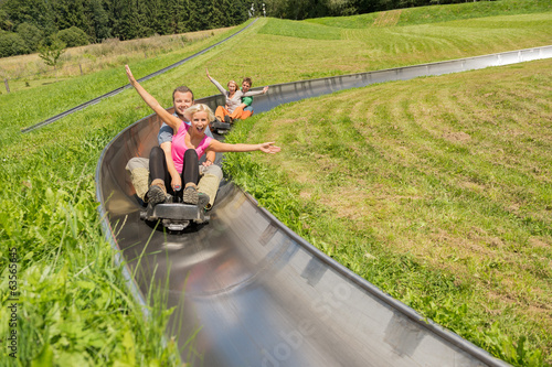Couples Enjoying Alpine Coaster Luge
