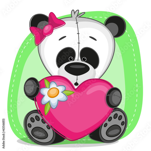 Panda girl with heart