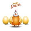 Happy easter chicken mama, Funny chicken egg, vector card