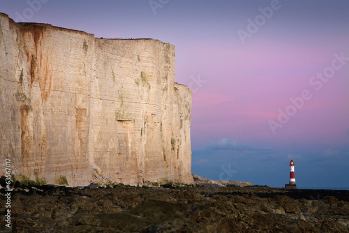 Lighthouse at Seven Sisters cliffs.