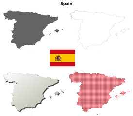 Blank detailed contour maps of Spain