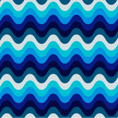 Seamless blue wavy background, vector illustration