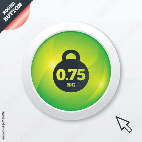 Weight sign icon. 0.75 kilogram. Mail weight