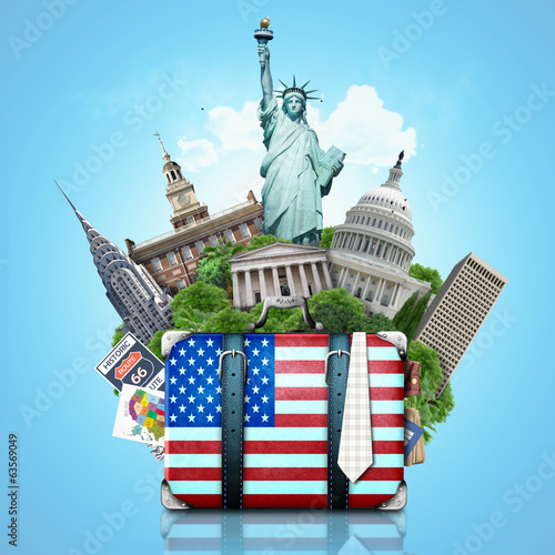 USA, landmarks USA, suitcase and New York
