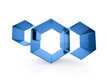 Blue hexagonal business cell background