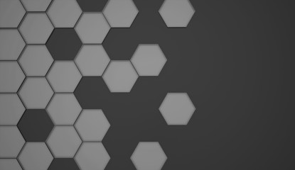 Abstract black and white hexagonal background
