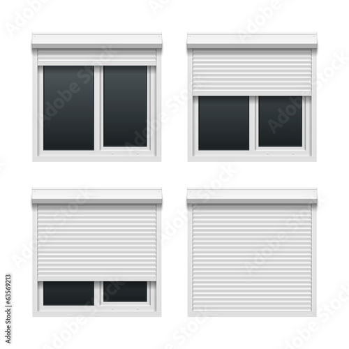 Window with roller shutters