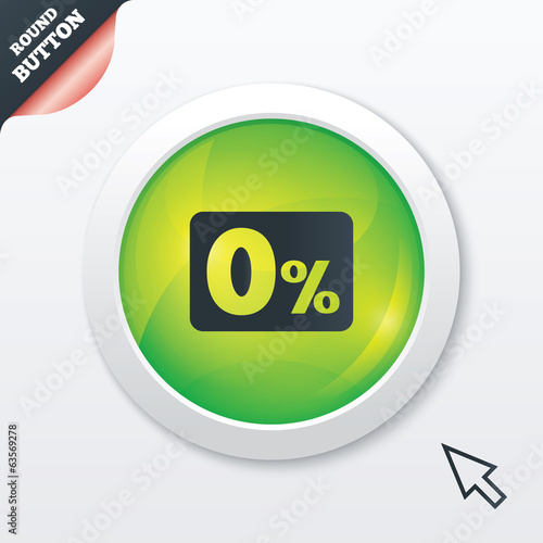Zero percent sign icon. Zero credit symbol.