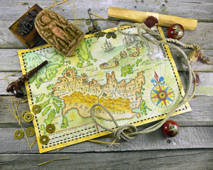 Pirate map with adventure objects