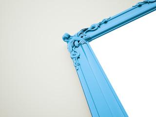 Blue mirror frame vintage concept