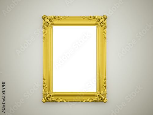 Mirror with gold frame rendered