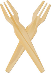 wooden fork for french fries, vector illustration