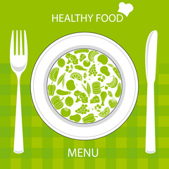restaurant menu card. Plate with healthy food