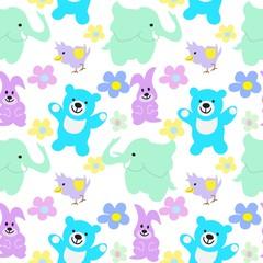 Baby Animals Seamless Background