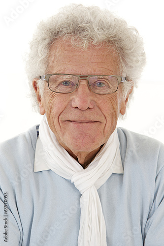 Portrait of smiling old white hair  man