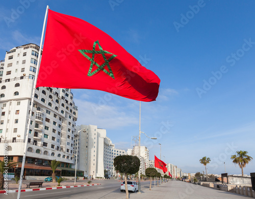 National flags stand along avenue Mohammed VI in new part of Tan