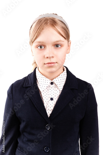 Portrait of blond Caucasian schoolgirl  isolated on white